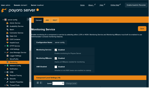 Payara server monitoring service