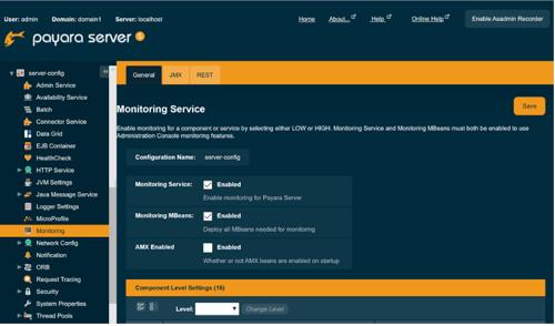 Payara server monitoring service
