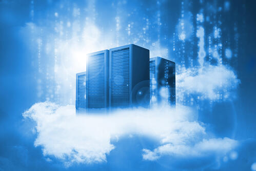 Data servers resting on clouds in blue in a cloudy sky