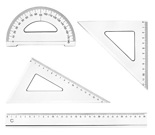 collection of plastic transparent rulers on white background. each one is in full cameras resolution