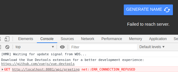Chrome console with error 'GET http://localhost:8081/api/greeting net::ERR_CONNECTION_REFUSED'