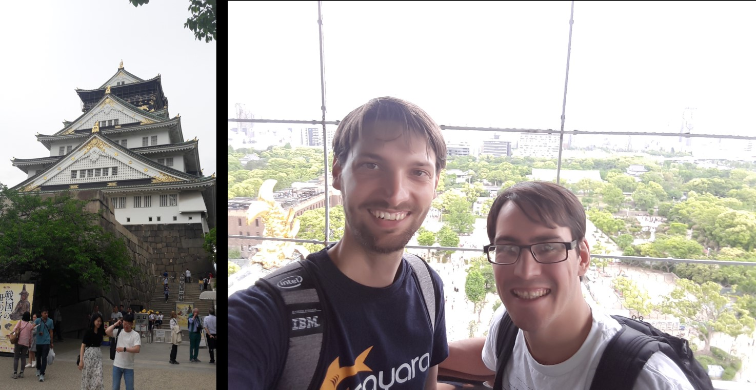 Photograph of Osaka castle tower / A photograph of Ondrej and Jadon at the top.