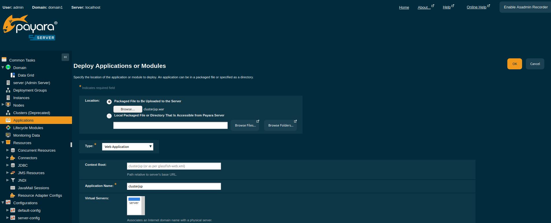 deploy_clsuterjsp_adminconsole